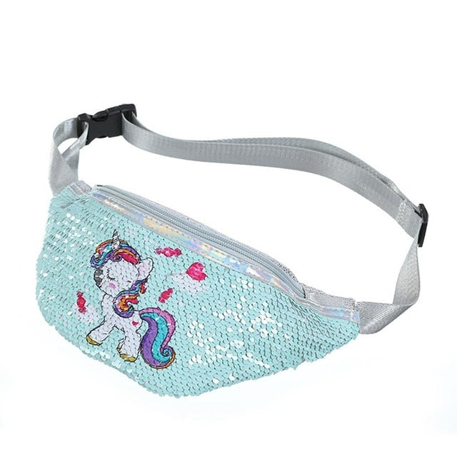 Sequins Printing Unicorn Sequin Fashion Waist Bag Fanny Pack Children Cartoon Chest Bag Outdoor Travel Pocket Phone Pouch|Crossbody Bags