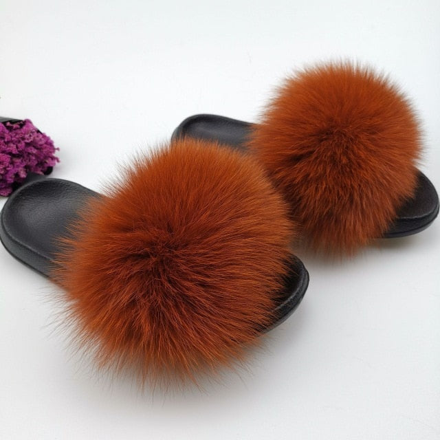 Summer Fluffy Raccoon Fur Slippers Shoes Women Real Fox Fur Flip Flop Flat Furry Fur Slides Outdoor Sandals Woman Amazing Shoes|Slippers
