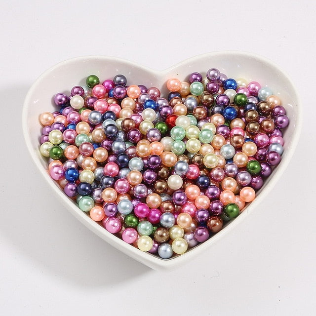 50 1000pcs/lot 3/4/6/8/10MM Multi Color No Hole ABS Imitation Pearl Bead