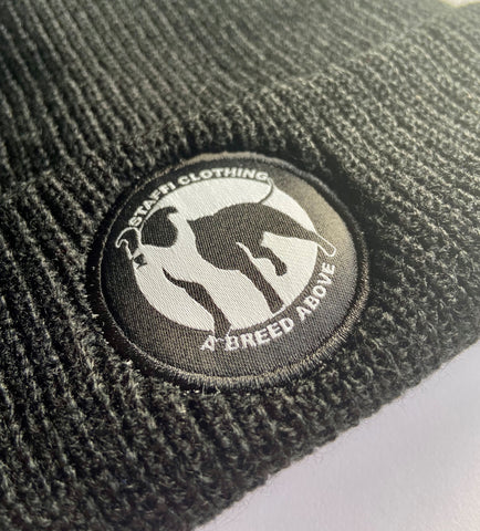 Staffi Black & White Badge Beanie Hat
