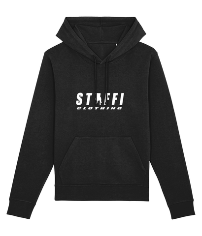 Black Hoody with White Staffi Clothing Logo