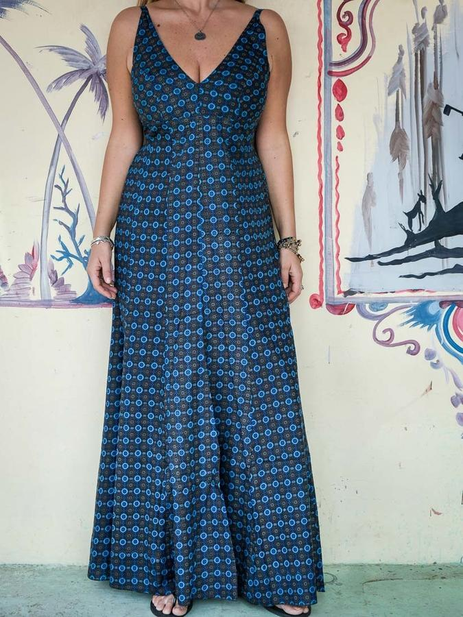 Ashalata long dress - blue floral - Trancentral Shop