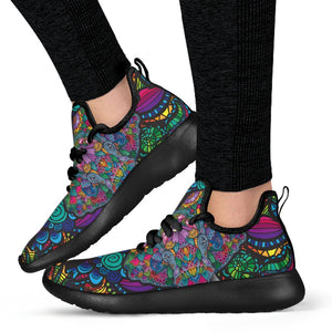 Black Mesh Knit Sneakers - Trancentral Shop