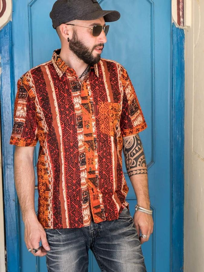 Budhil Shirt ethnic orange - Trancentral Shop