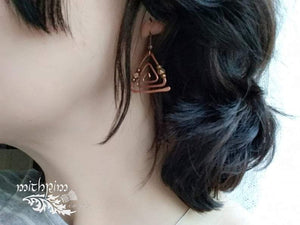 Copper triangle geometric earrings - Trancentral Shop