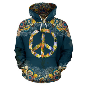 Feather Peace Mandala Hoodie - Trancentral Shop