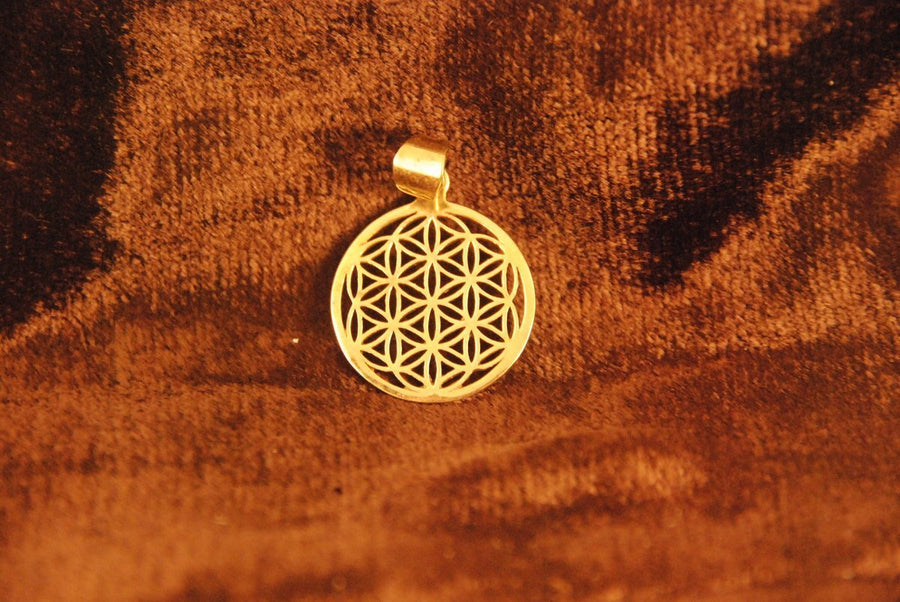 Flower of Life Pendant - Brass - Trancentral Shop