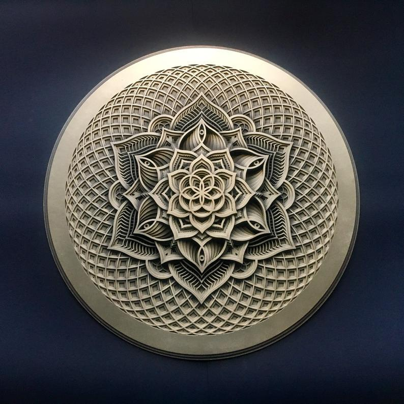 Golden Flower Wall Art Sacred Geometry Mandala - Trancentral Shop