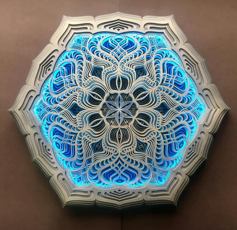 Golden Teacher Wall Art Sacred Geometry Led Lamp - Trancentral Shop