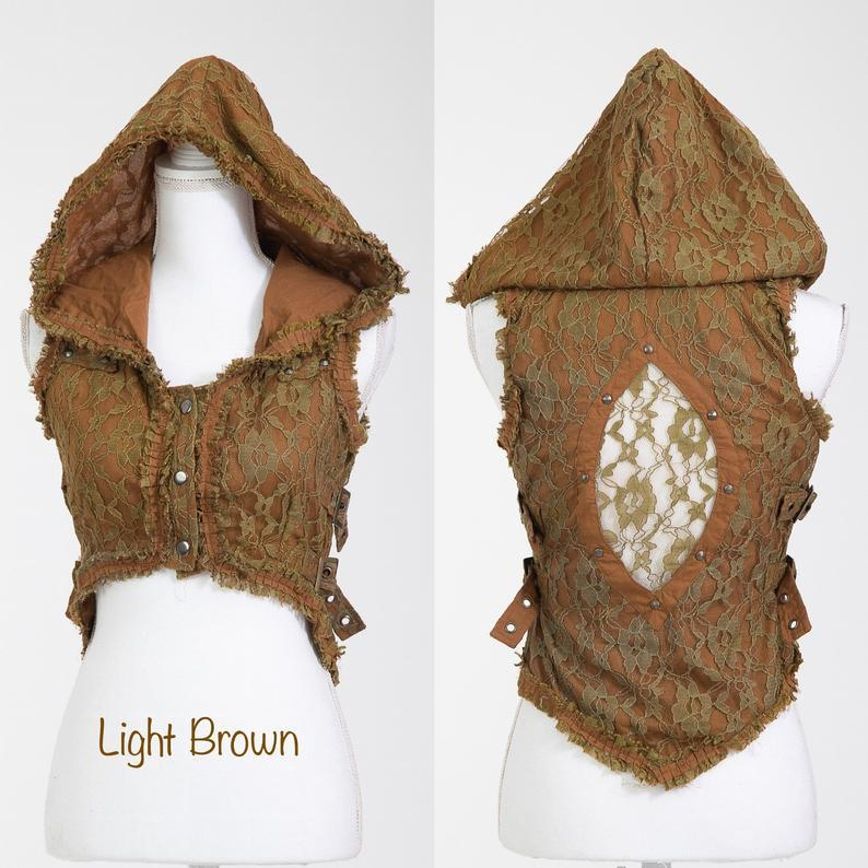 Lace Boho Vest with Side Buckles and Hoodie - Trancentral Shop