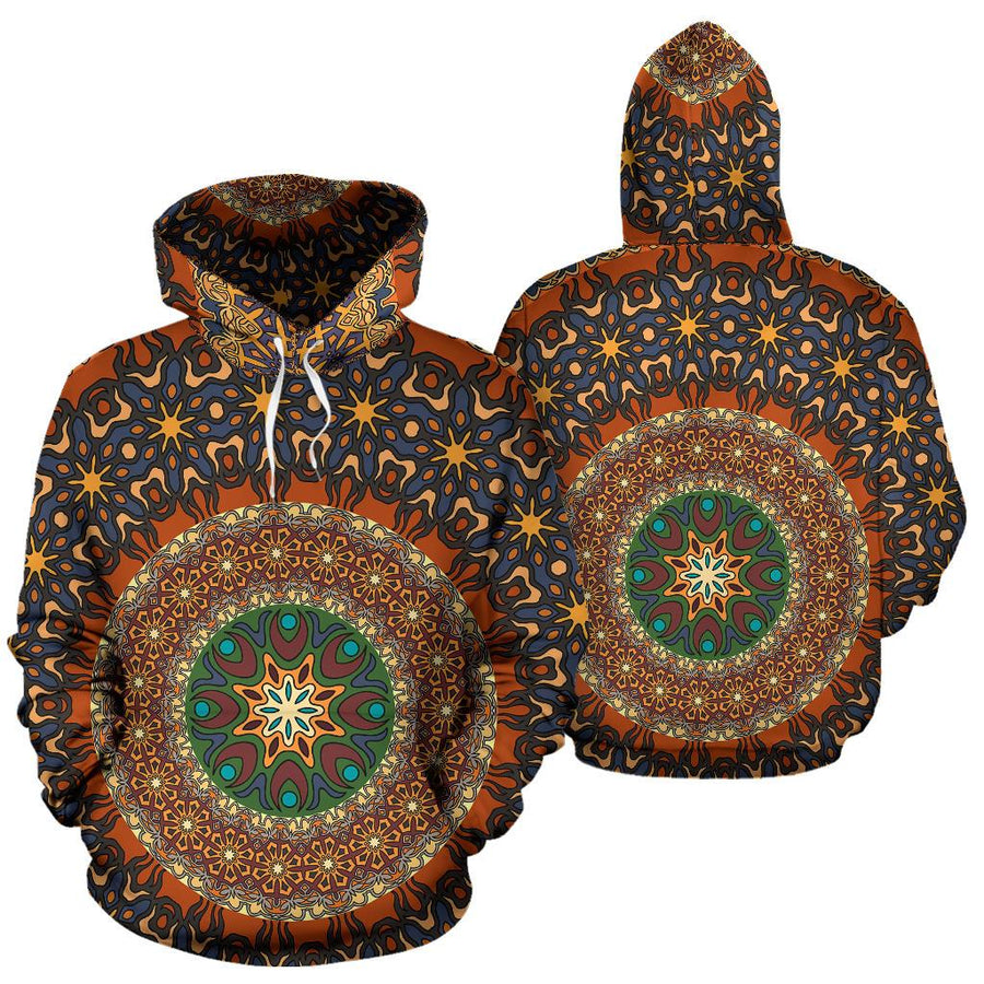 Lovely Boho Mandala Orange & Brown Design All Over Hoodie - Trancentral Shop
