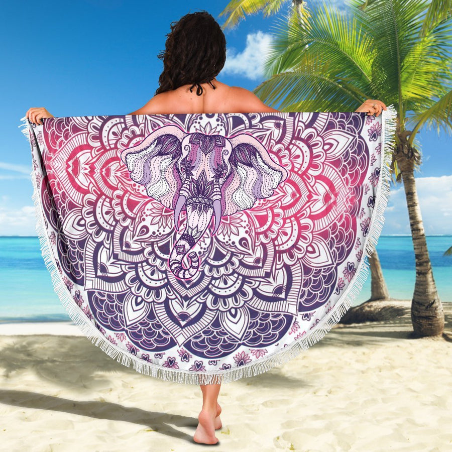 Lucky Purple Elephant Mandala Beach Blanket - Trancentral Shop
