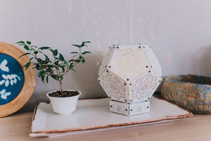 Mandala White Flower Wooden LED Lamp - Trancentral Shop