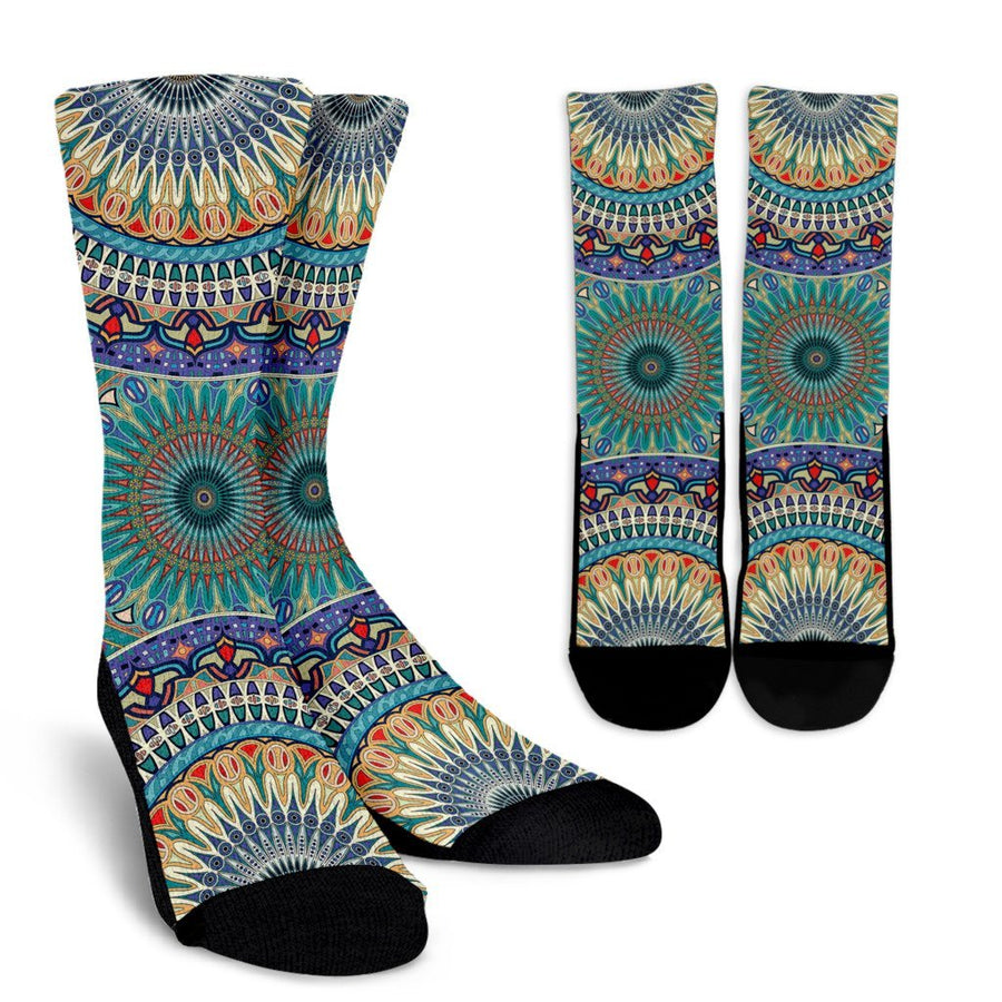 Ornamental Sky Blue Crew Socks - Trancentral Shop