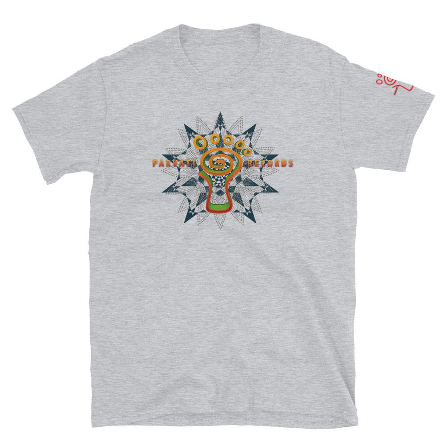 Parvati Trishula and sleeve logo Cotton T-Shirt - Trancentral Shop