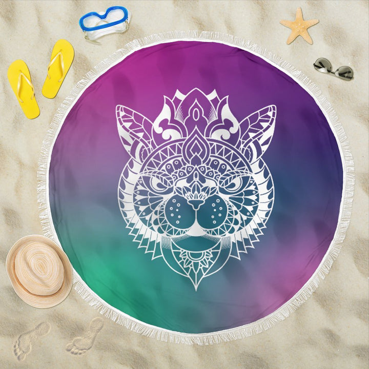 Round Towel Cat Mandala - Trancentral Shop