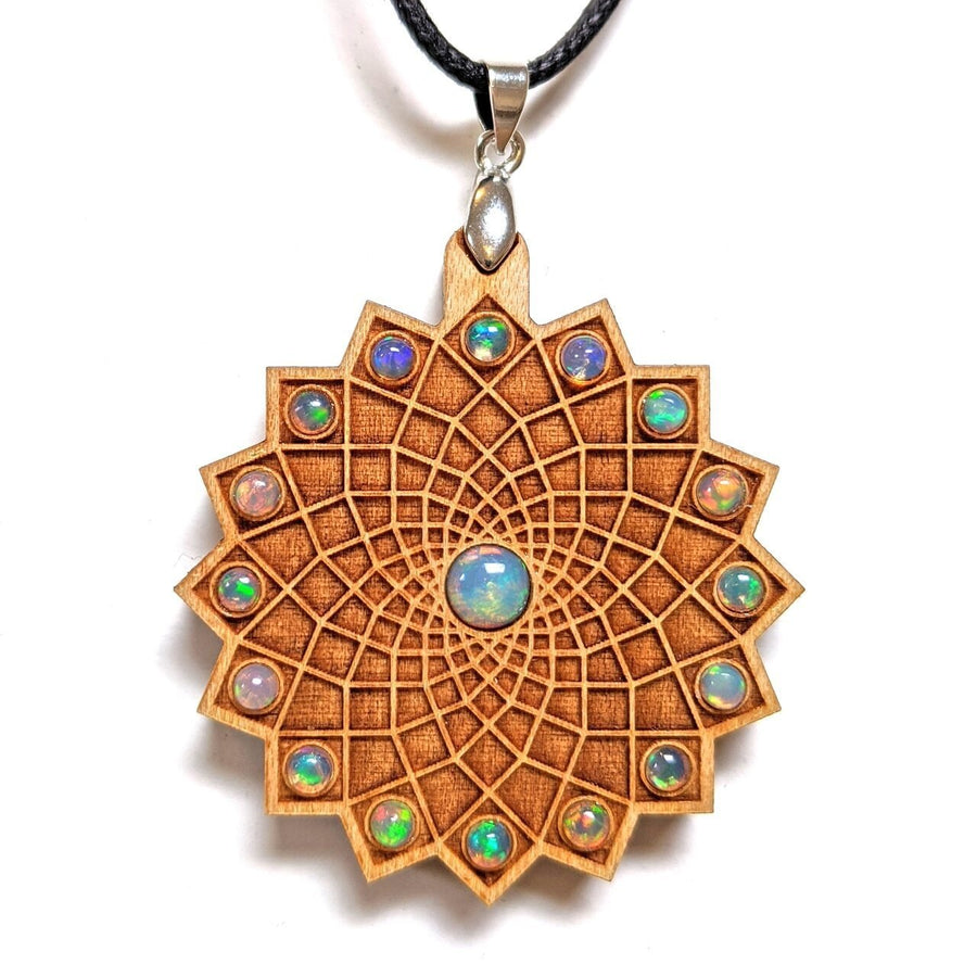 Square Flower Gemstone Grid Talisman - Cherry with x17 Opals - Trancentral Shop