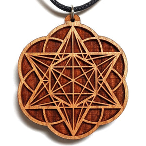 Starseed Star Tetrahedron Hexagon Seed of Life Hardwood Pendant - Trancentral Shop