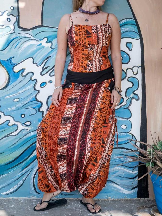 Vaishali long dress - ethnic orange - Trancentral Shop