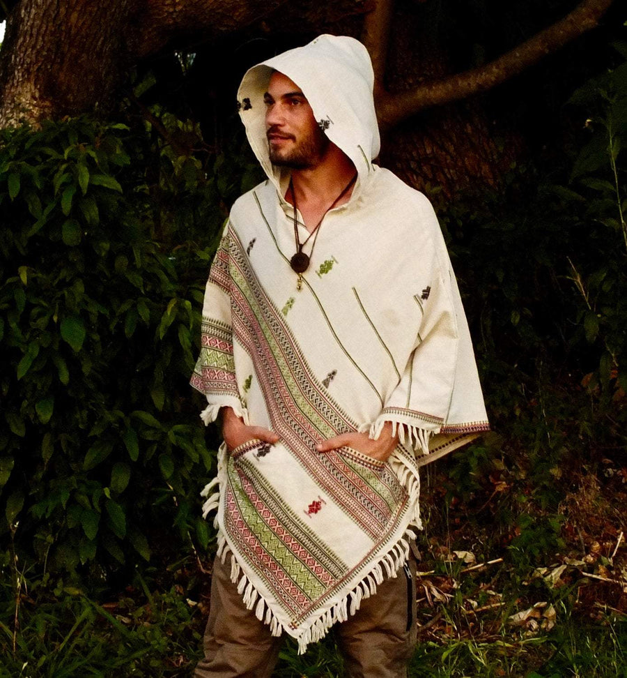 White Hooded Poncho with Hood Cashmere Wool - Trancentral Shop