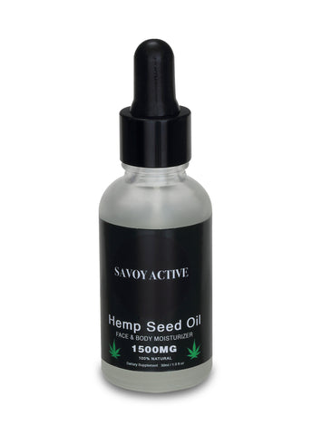 Hemp Seed Moisturizing Oil - Premium Grade - 100% Organic - 1500MG - 1 Fl. Oz. / 30 Ml.