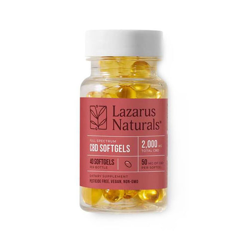Lazarus Naturals - CBD Capsules - Full Spectrum Liquid Softgels - 50mg