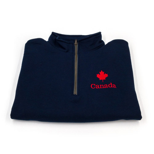 maple leaf quarter zip folded