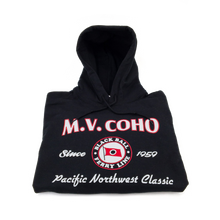 Load image into Gallery viewer, black MV COHO hoodie folded