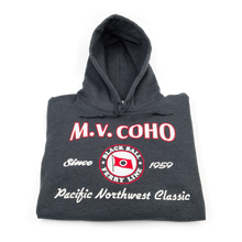 Load image into Gallery viewer, charcoal grey MV COHO hoodie folded