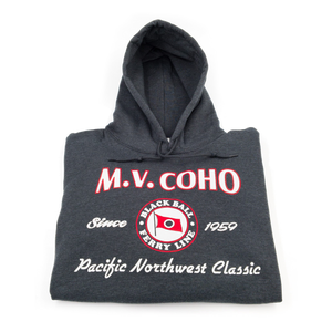 charcoal grey MV COHO hoodie folded