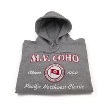 Load image into Gallery viewer, light grey MV COHO hoodie folded