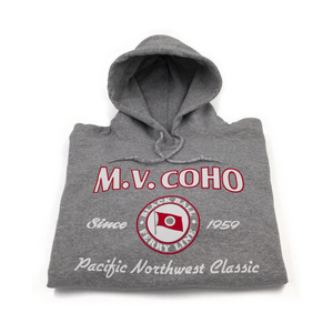 light grey MV COHO hoodie folded