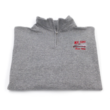 Load image into Gallery viewer, grey MV COHO quarter zip sweater folded