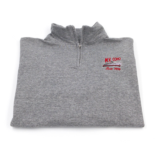grey MV COHO quarter zip sweater folded