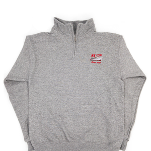grey MV COHO quarter zip sweater