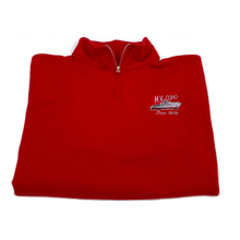 Load image into Gallery viewer, red MV COHO quarter zip folded