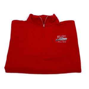 red MV COHO quarter zip folded