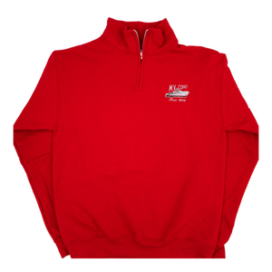red MV COHO quarter zip