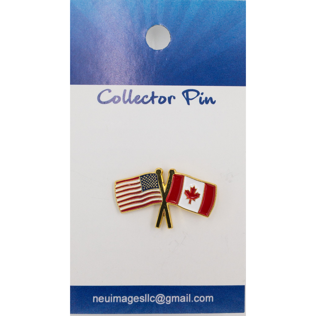 USA Canada flag lapel pin