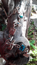 Load image into Gallery viewer, Cuttlefishish Bone Cast Silver and Turquoise Bracelet
