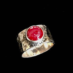 Hammer Textured Sterling Silver, Cigar Band Ring with Coral