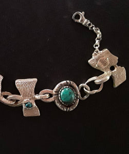 Cuttlefishish Bone Cast Silver and Turquoise Bracelet