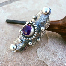 Load image into Gallery viewer, Sterling Silver Large Boho Style Ring with Amethyst Stone