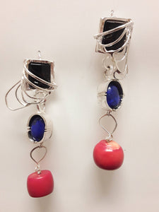 Onyx, Lapis Azuli , Red Coral TWO Looks Earrings