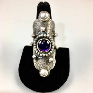 Sterling Silver Large Boho Style Ring with Amethyst Stone
