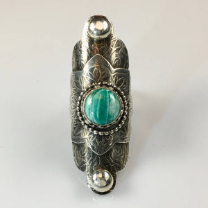 Sterling Silver Boho Styled Ring with Amazonite Stone