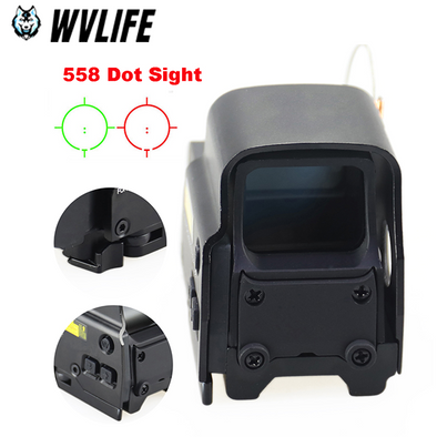 WVLIFE 558 Holographic Red Green Dot Sight Rifle Scope Fit 20mm Rail Mounts for Airsoft Holographic sight