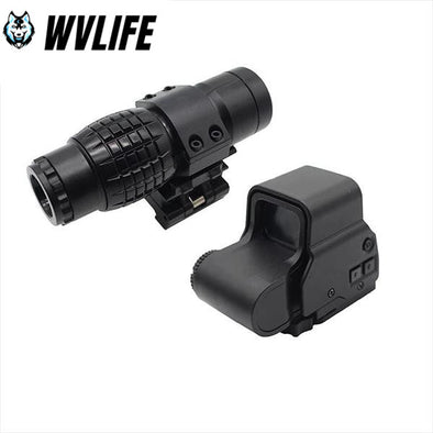 WVLIFE 3x Magnifier Sight Scope+ Reflex Holographic Red Green Dot 558