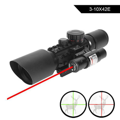 WVLIFE 3-10X42E M9 Holographic Sight Scope Wide-field Riflescope with Red Laser and Herring Bone Strutting