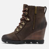 Womens Sorel Joan Uptown Lace Natureb Shearling Wedge Heel Ankle Boots